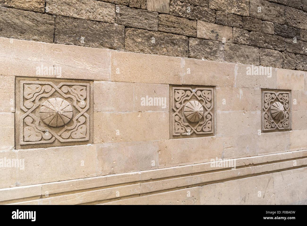 Carvings Old City Baku Azerbaijan - Stock Image
