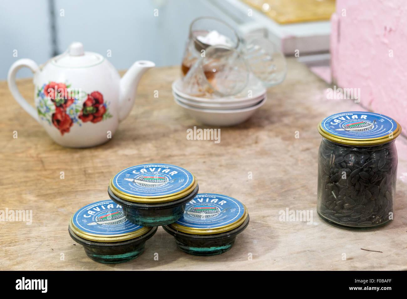 Caviar & tea: Baku Bazaar Azerbaijan - Stock Image