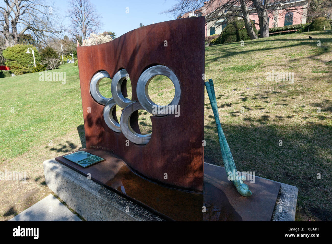 Drapeau olympique by Emilio Armengol, International Olympic Committee, Olympic Garden Lausanne Stock Photo