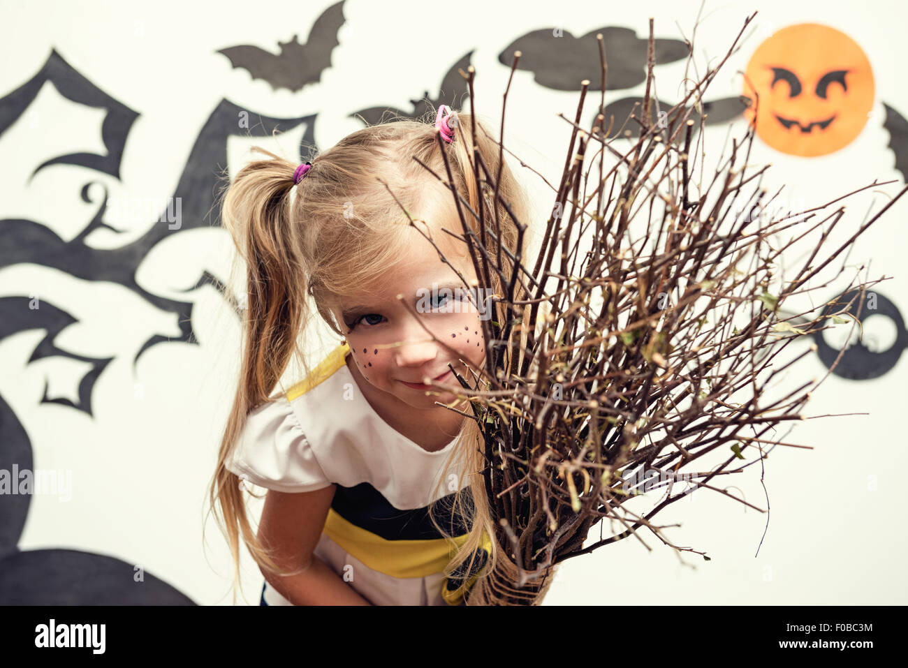 Little beautiful witch. - Stock Image