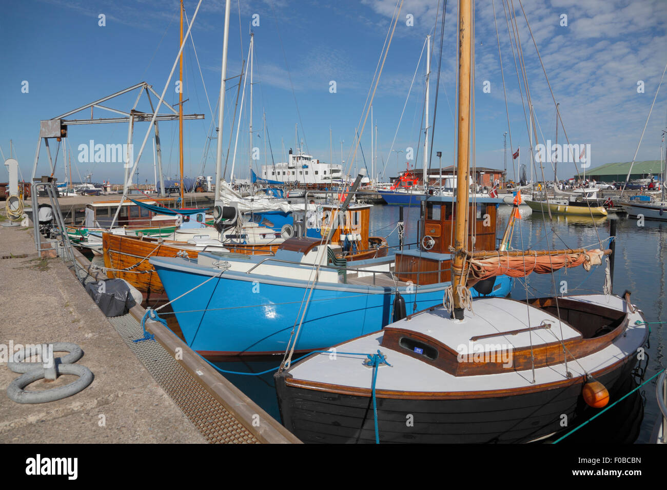Colourful boats in Hundested Harbour on the corner of Kattegat and the inlet Isefjord. - Stock Image