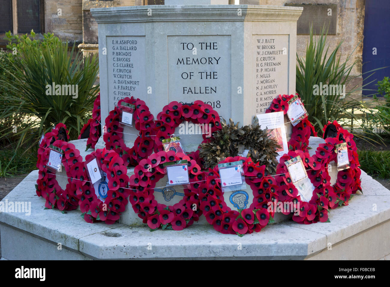 WWI First world war, Great war Memorial in front of St Mary Magdalena Church Woodstock Oxfordshire England UK Europe - Stock Image