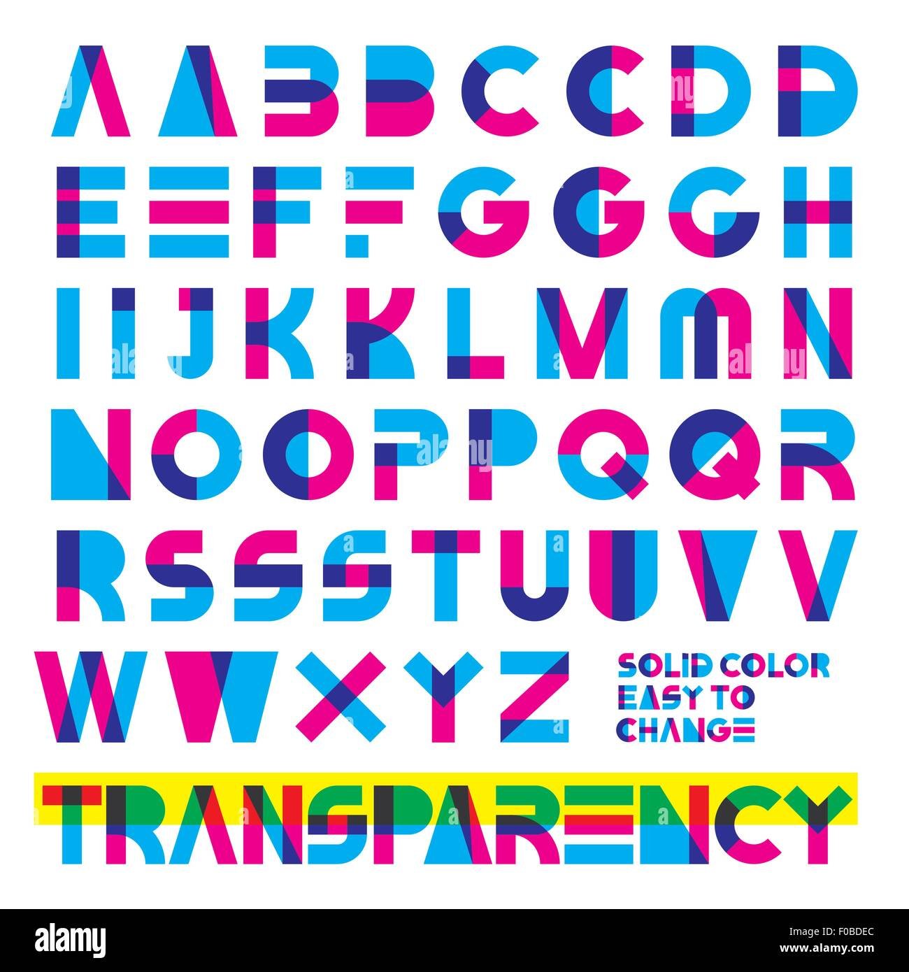 typeset in primary colors transparency solid colors easy to change. - Stock Image