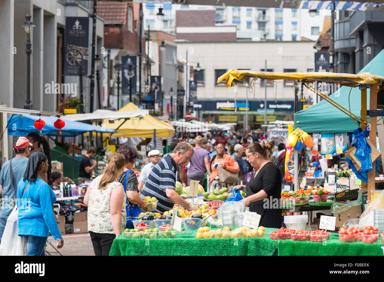 Surrey Street Market stall, Surrey Street, Croydon, London Borough of Croydon, Greater London, England, United Kingdom - Stock Image