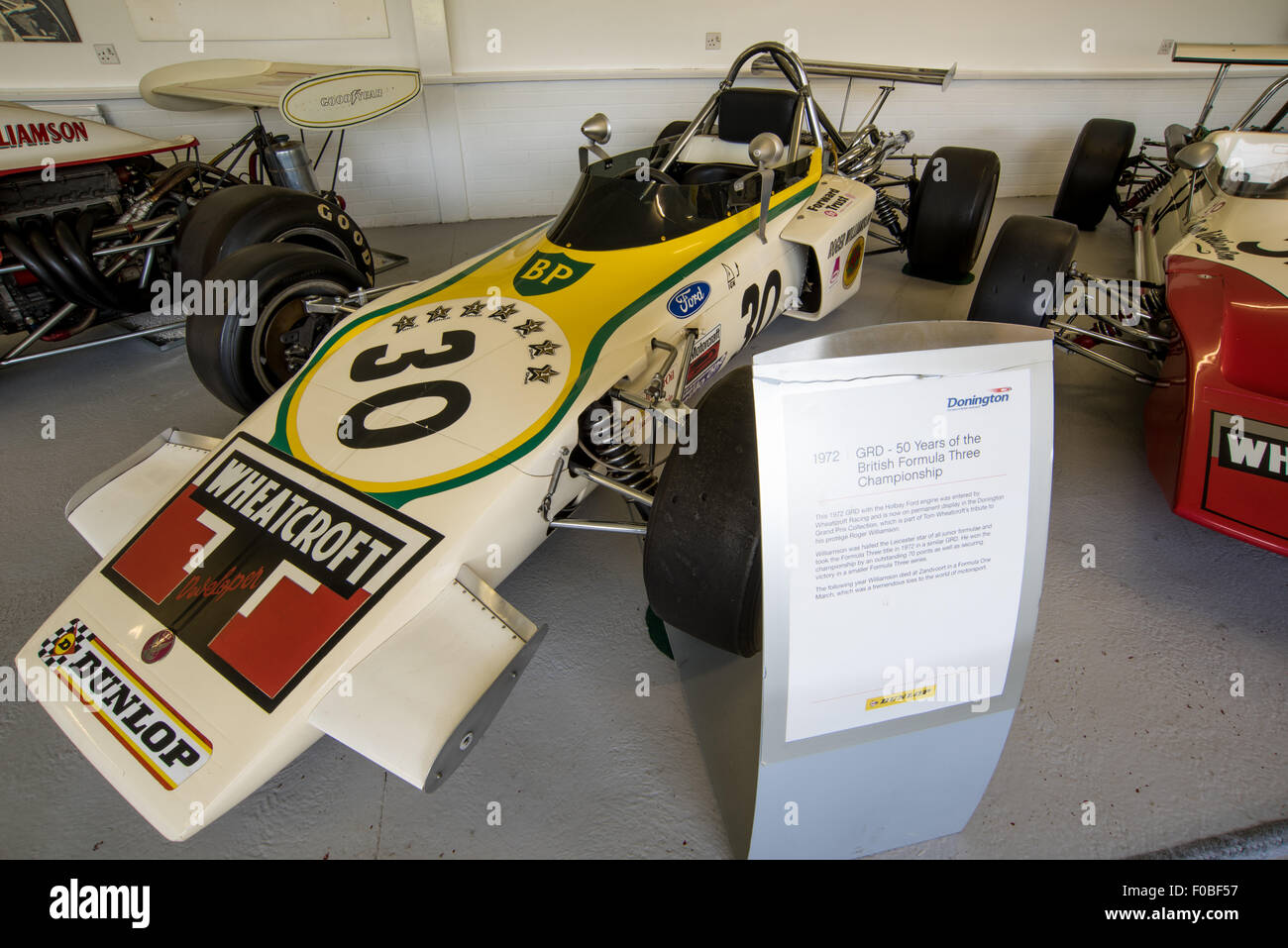 1972  GRD driven by Roger Williamson on display at  the Museum of Donington Raceway Leicestershire, England UK - Stock Image