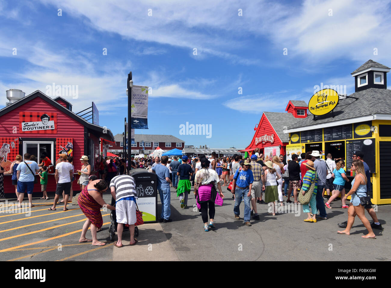 The historic waterfront in Halifax contains several food stores, including Canadian food such as poutine and Beaver - Stock Image
