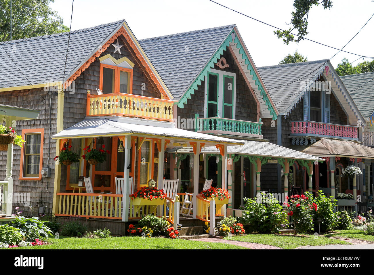 Cottages Martha S Vineyard Camp Meeting Association Oak Bluffs Stock Photo Alamy