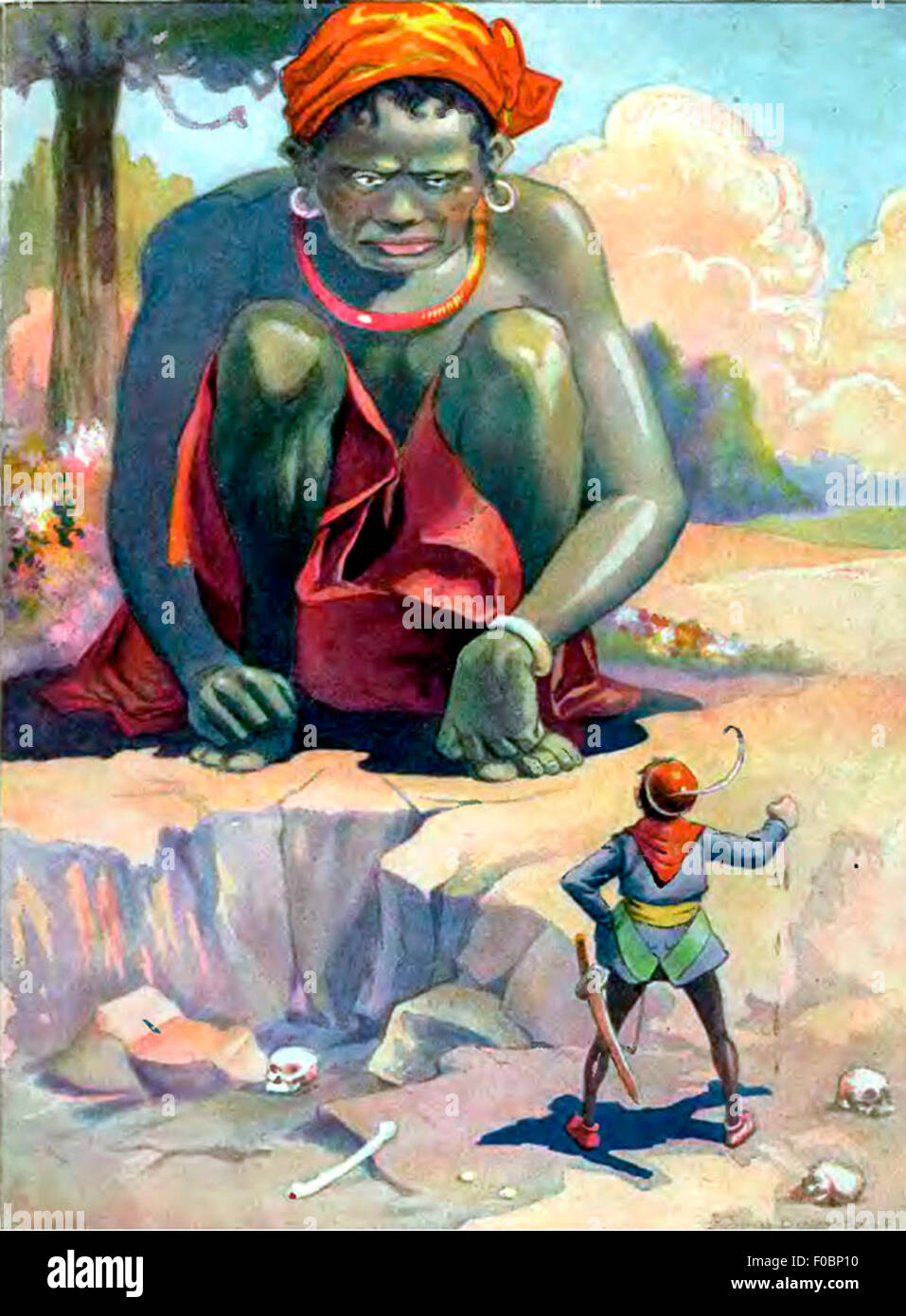 Jack and the Giant in Jack and the Beanstalk - Stock Image