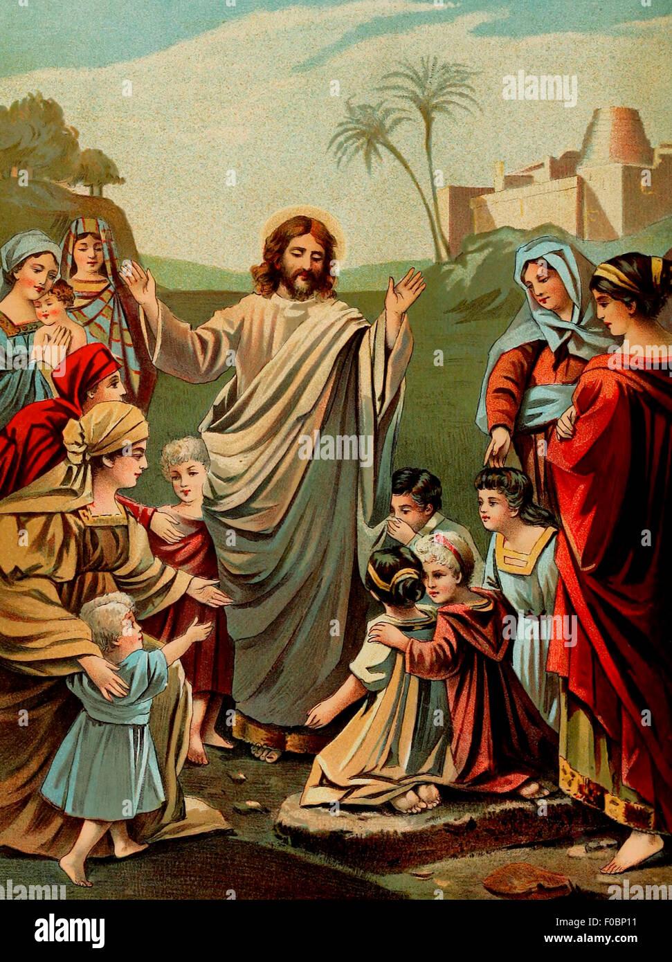 Jesus Christ Blessing the Little Children - Stock Image