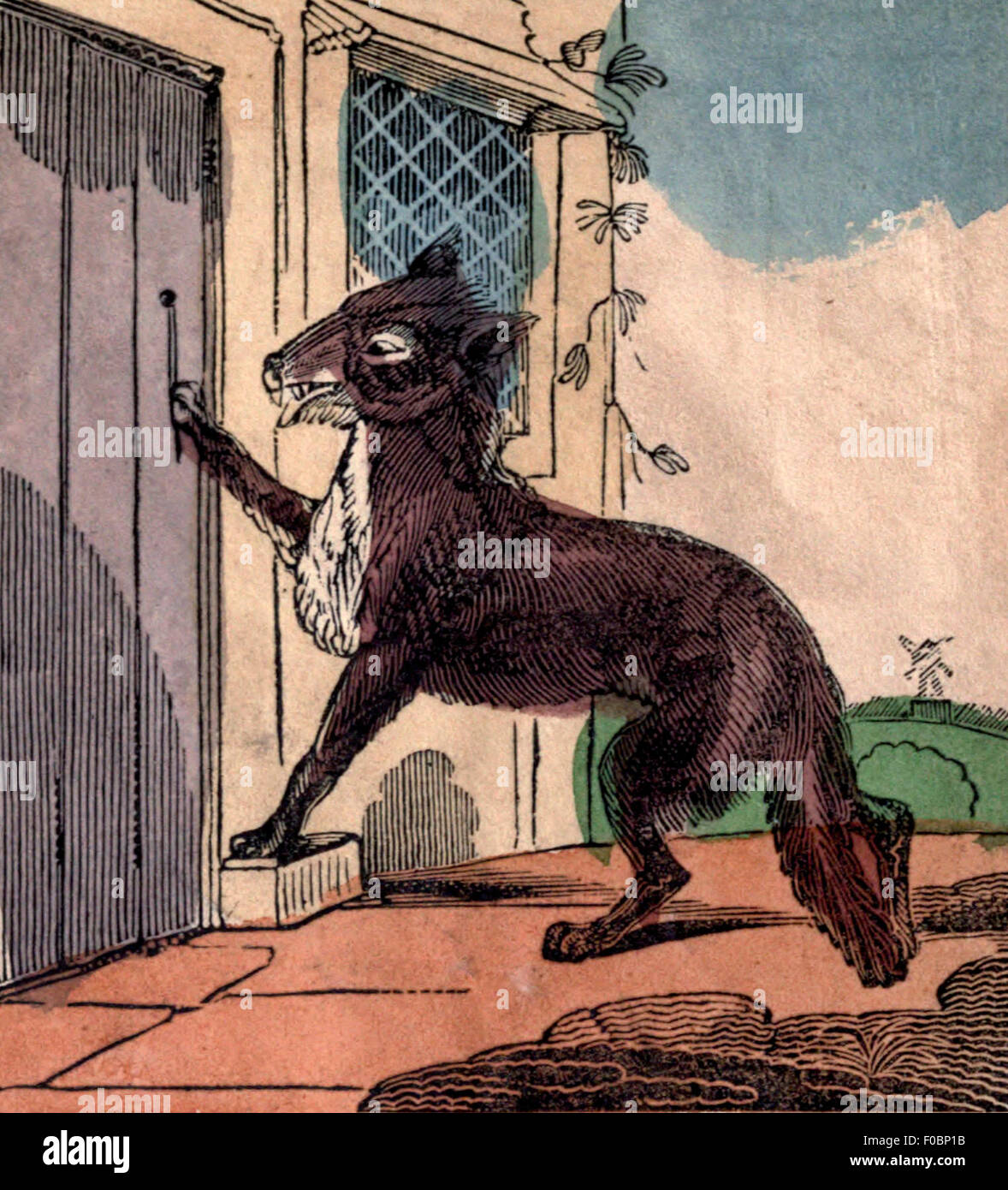 Wolf Getting Into Grandma S House In Little Red Riding Hood Stock