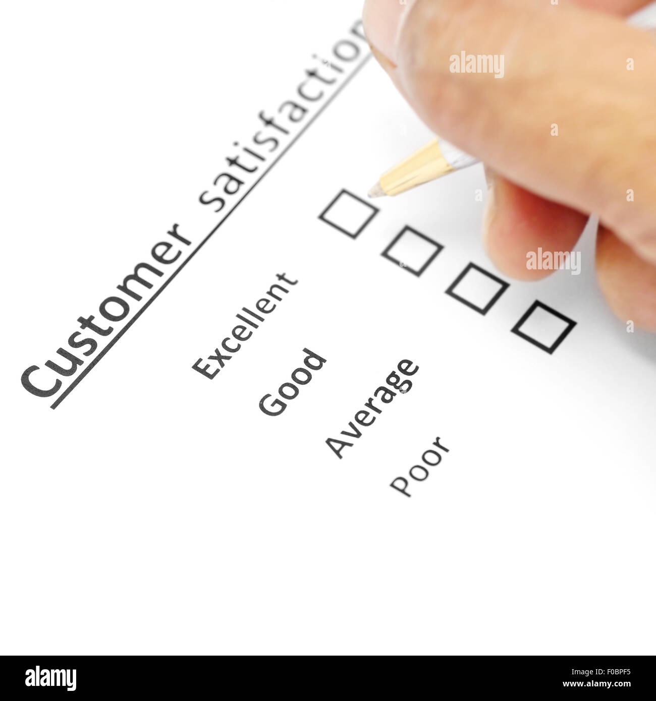 customer satisfaction survey form with the pen checked excellent in checkbox - Stock Image