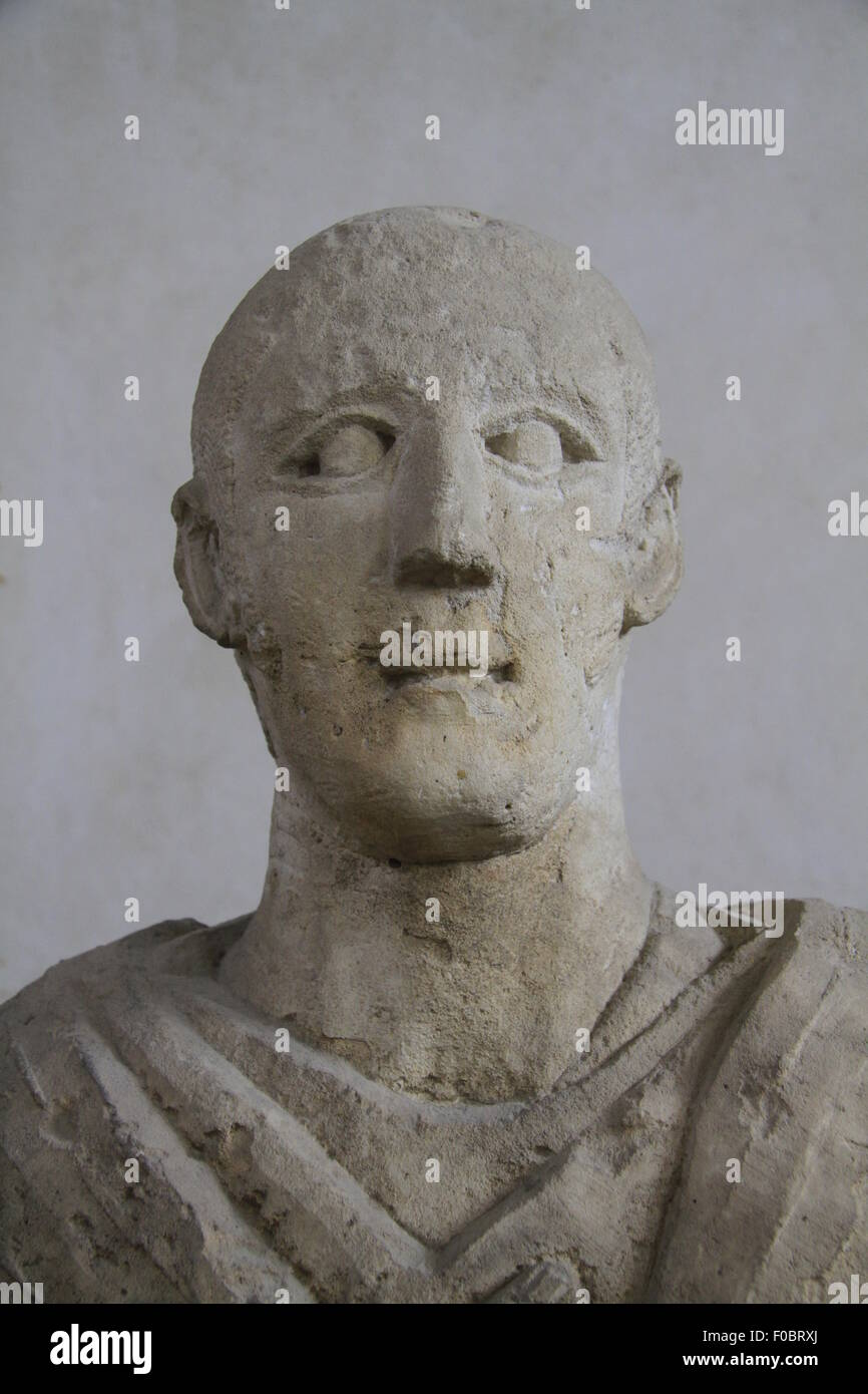 Funerary bust of a man from Samaria, Roman period, 3rd century AD, limestone, on display at the Rockefeller Museum - Stock Image