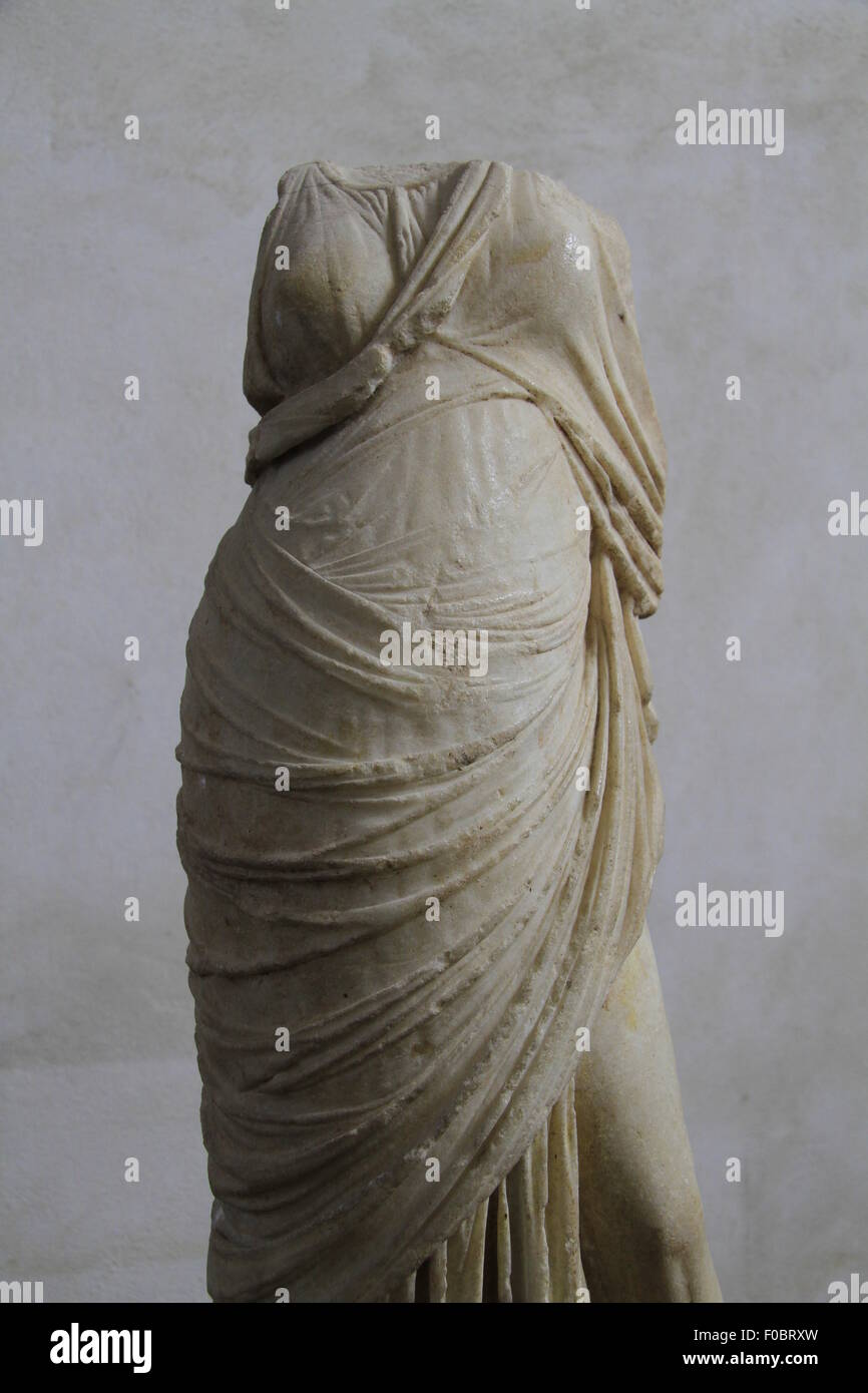 Statue of a woman, Ashkelon, marble, Hellenistic period, 2nd century BC, on display at the Rockefeller Museum - Stock Image