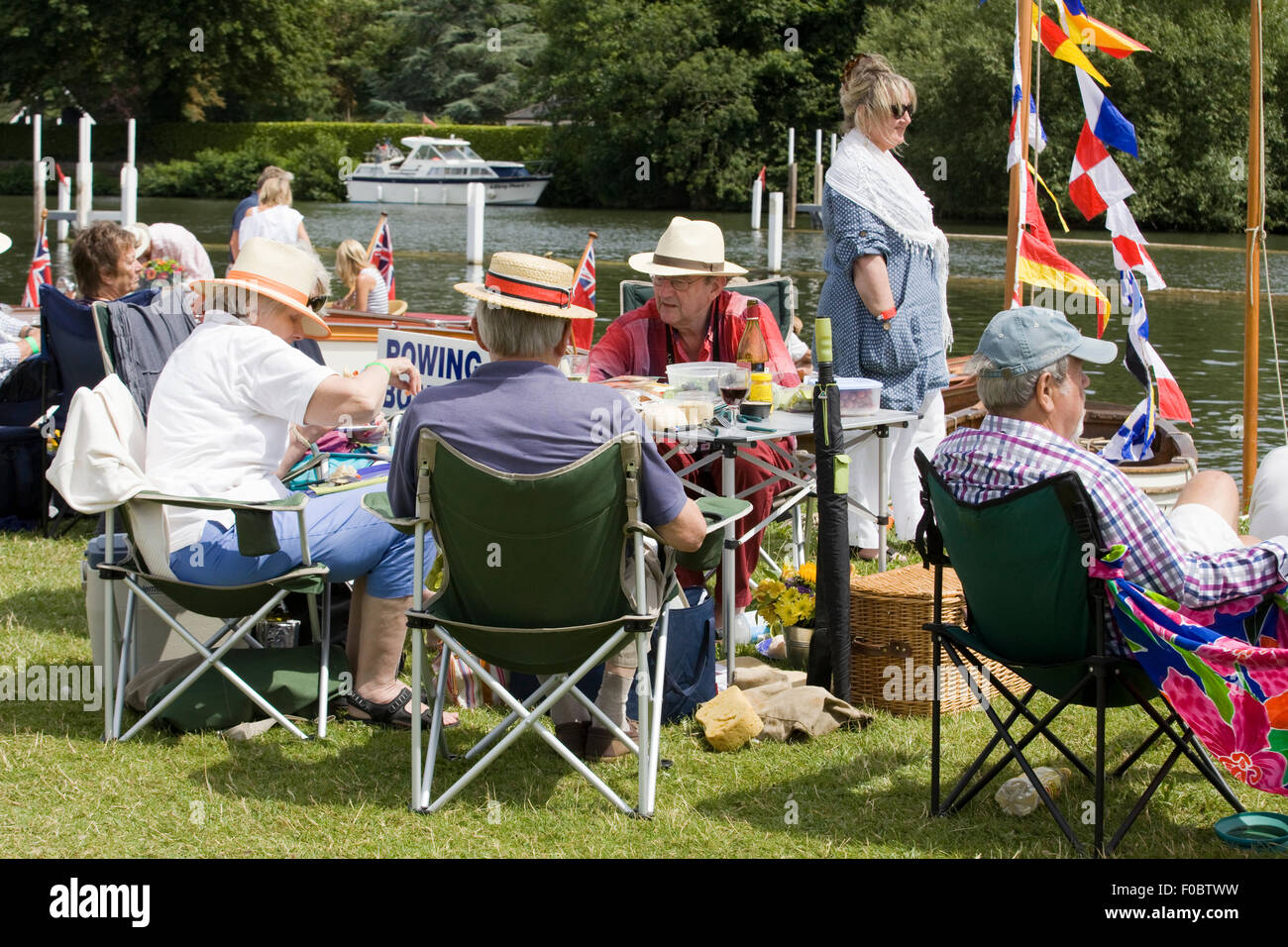 Afternoon tea by the river Thames Henley - Stock Image