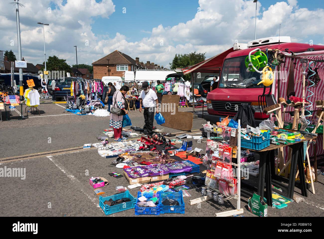 Hounslow West Car Park Car Boot Market, Hounslow West, London Borough of Hounslow, Greater London, England, United - Stock Image