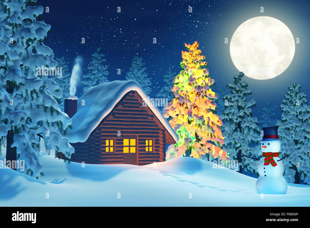 A cabin in a moonlit snowy Christmas landscape at night. The trees ...