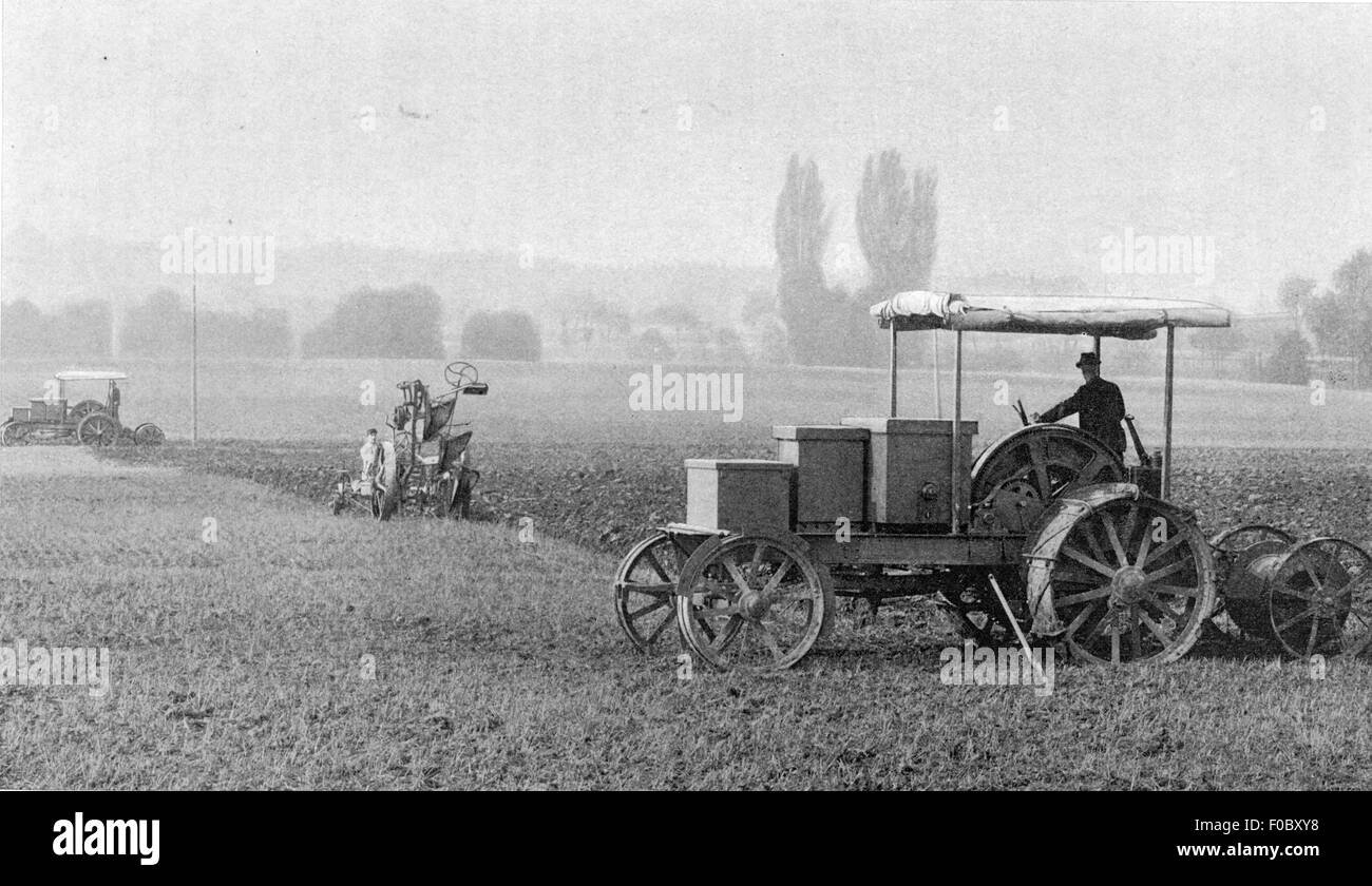 agriculture, machines, plough driven by electrical power transmission, circa 1910, Additional-Rights-Clearences - Stock Image