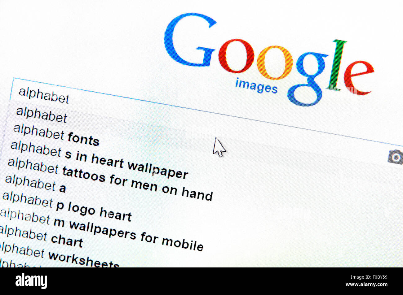 Google search for 'alphabet' - the name of their new parent company. Screen shot - Stock Image