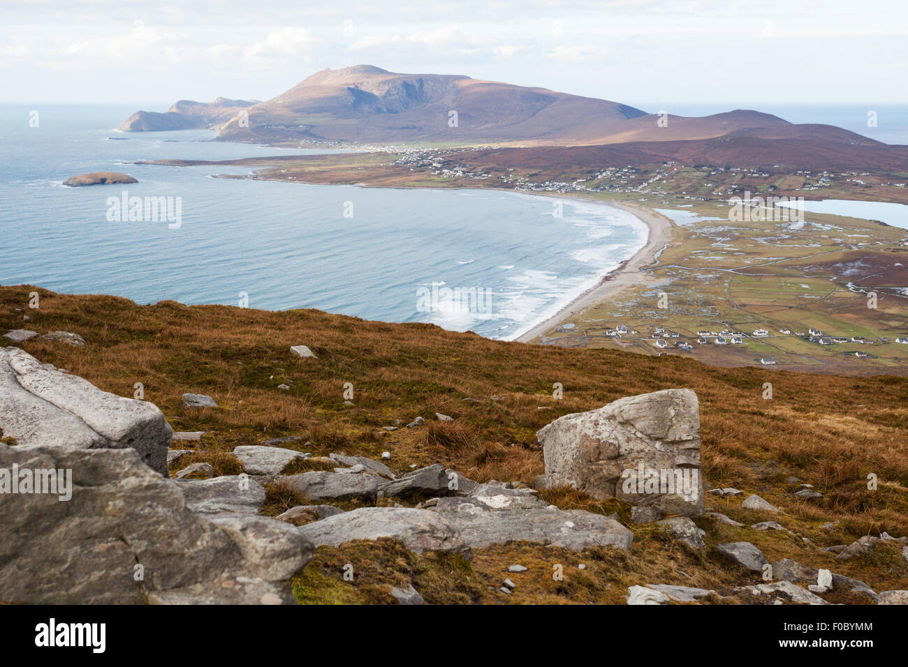 View at Keel and Slievemore mountain  from Minaun, Achill island. - Stock Image