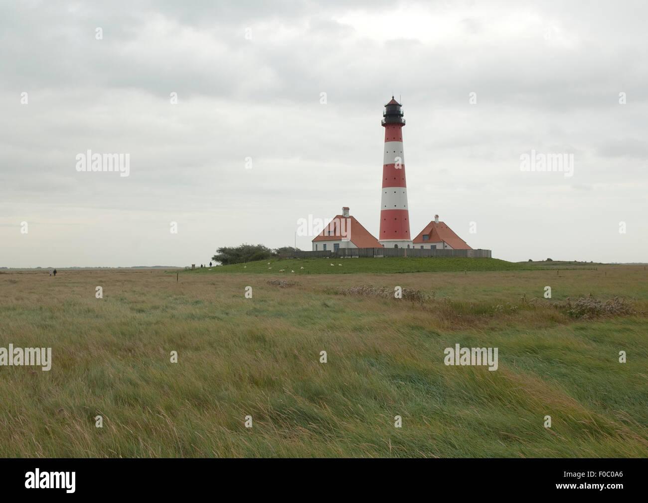 Leuchtturm, Westerheven, - Stock Image