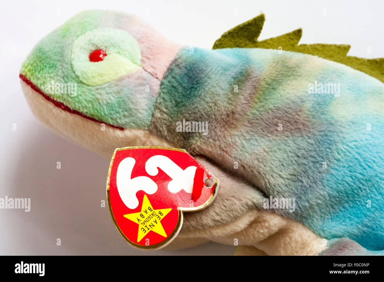Iggy iguana ty beanie original baby soft cuddly toy set on white background 898888ba693