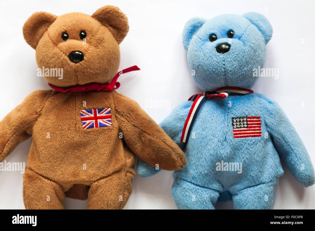 a942574df18 America and Britannia ty beanie baby teddy bears set on white background -  UK and USA