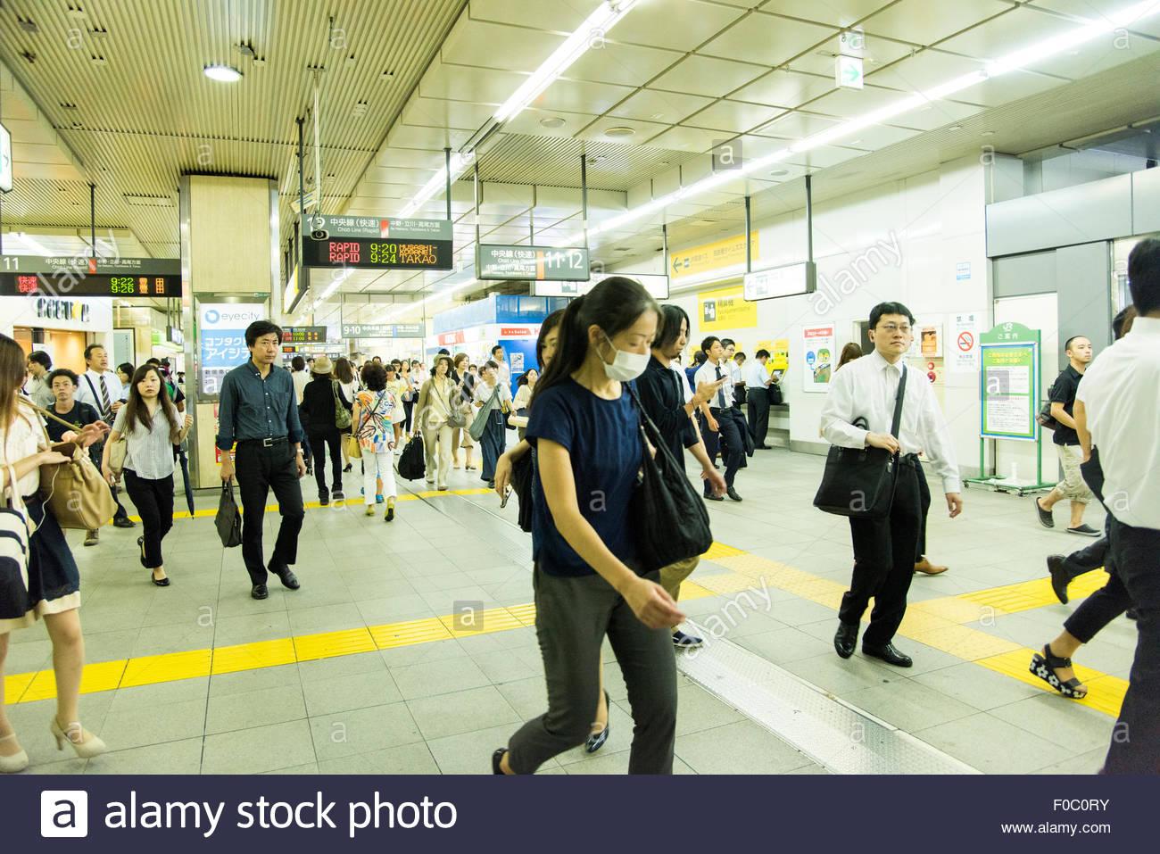 Shinjuku Station at busy morning hour,Shinjuku-Ku,Tokyo,Japan - Stock Image