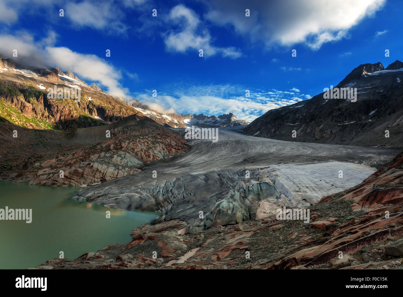 Rhone glacier in Swiss Alps in summer day. Switzerland, Europe. - Stock Image
