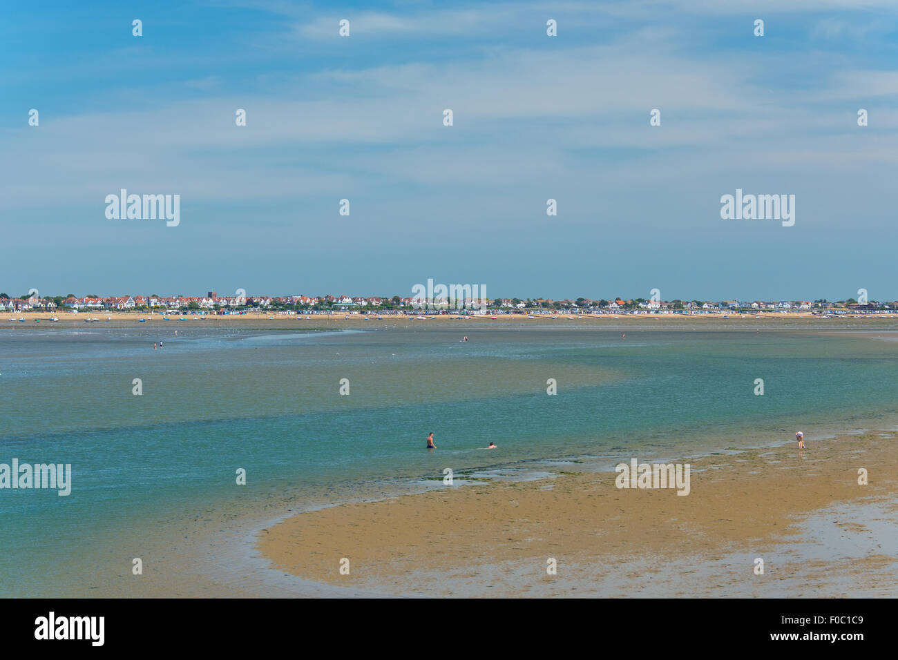 The beach at Southend-on-Sea, with sand bank, seen from pier - Stock Image