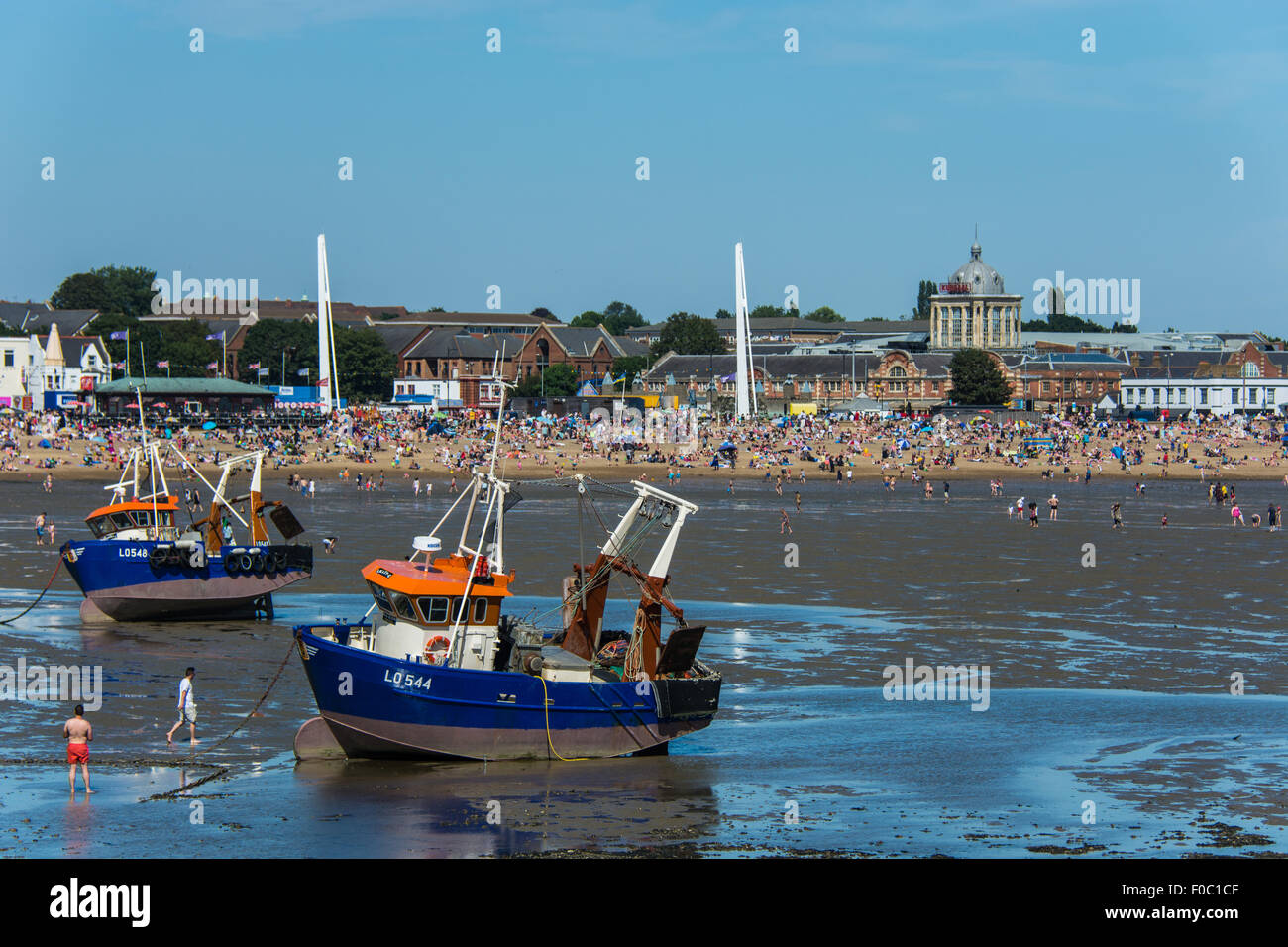 The beach at Southend-on-Sea, with Kursaal, seen from pier - Stock Image