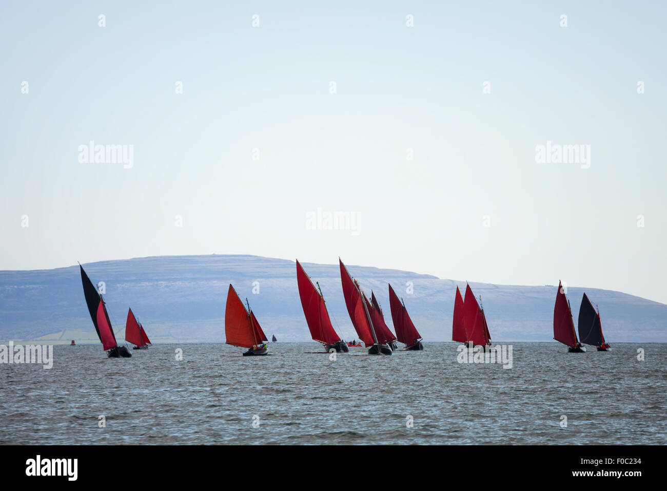 Traditional wooden boats Galway Hooker, with red sail, compete in regatta. Ireland. - Stock Image