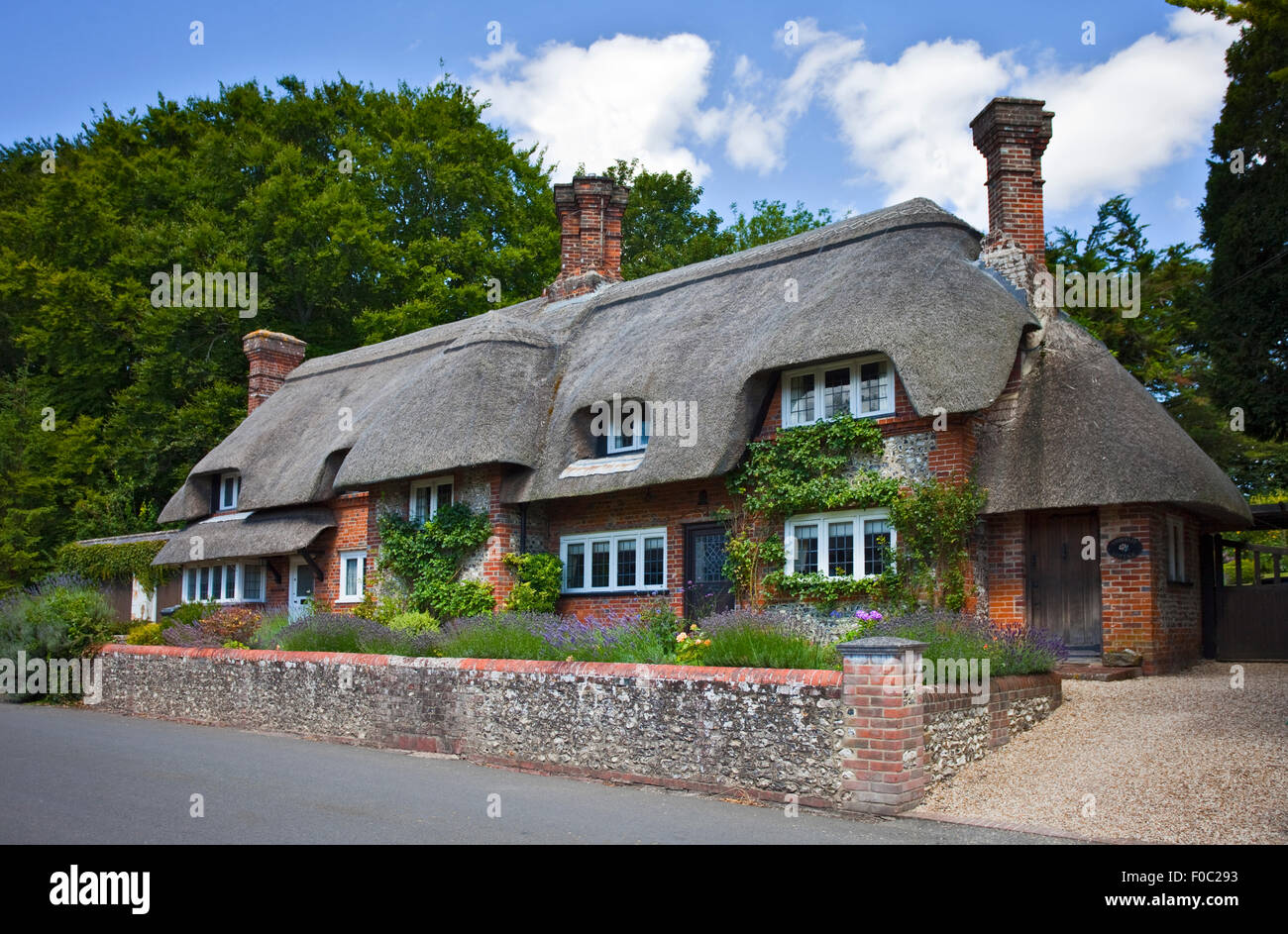 Thatched Cottages, Crawley, Hampshire, England - Stock Image