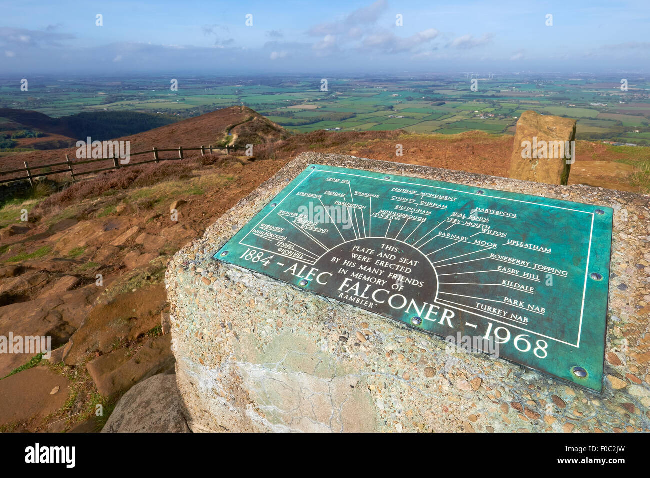 View point and memorial for Alec Falconer on the Cleveland Way North York Moors, UK. - Stock Image