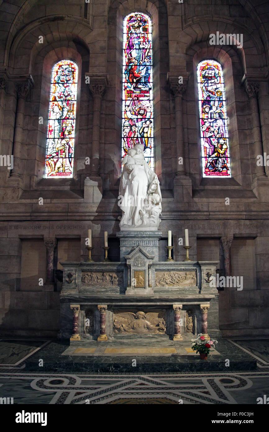 Interior of The Basilica of the Sacred Heart of Paris.Sacré-Cœur Roman Catholic church and minor basilica Paris Stock Photo