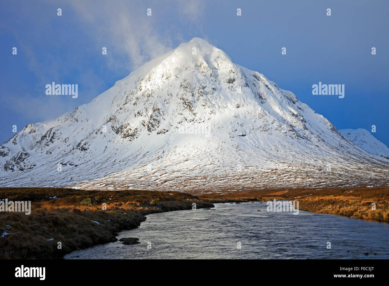 Snow on Buachaille Etive Mor mountain Lochaber Scotland UK - Stock Image