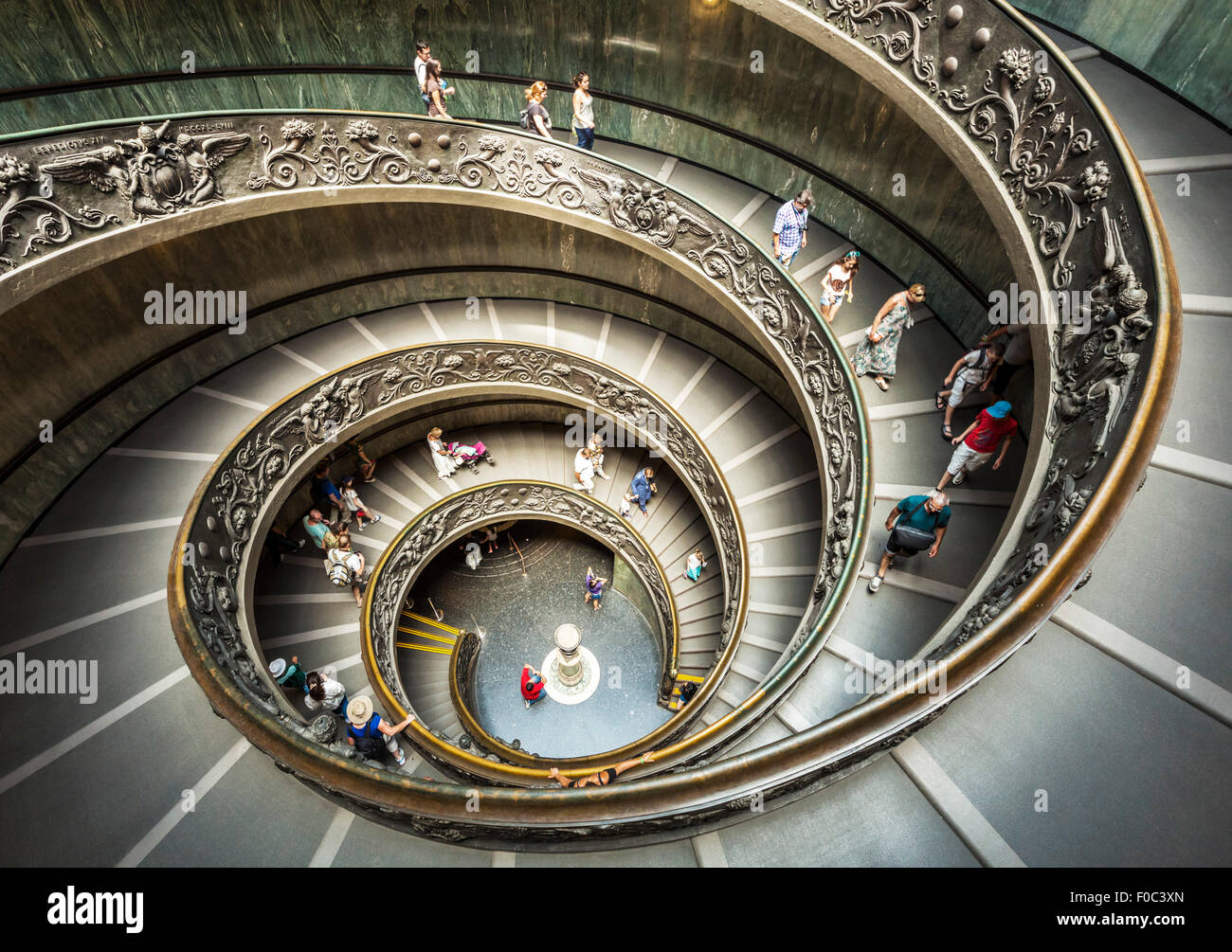 Spiral Staircase designed by Giuseppe Momo in 1932  is a double helix staircase Vatican Museum Vatican City Rome - Stock Image