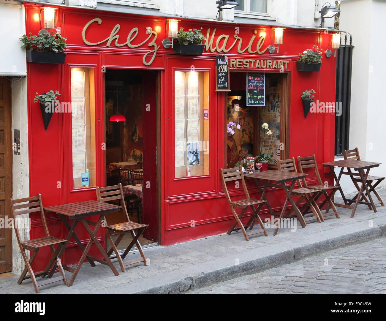 Restaurant Chez Marie Montmartre Paris France - Stock Image