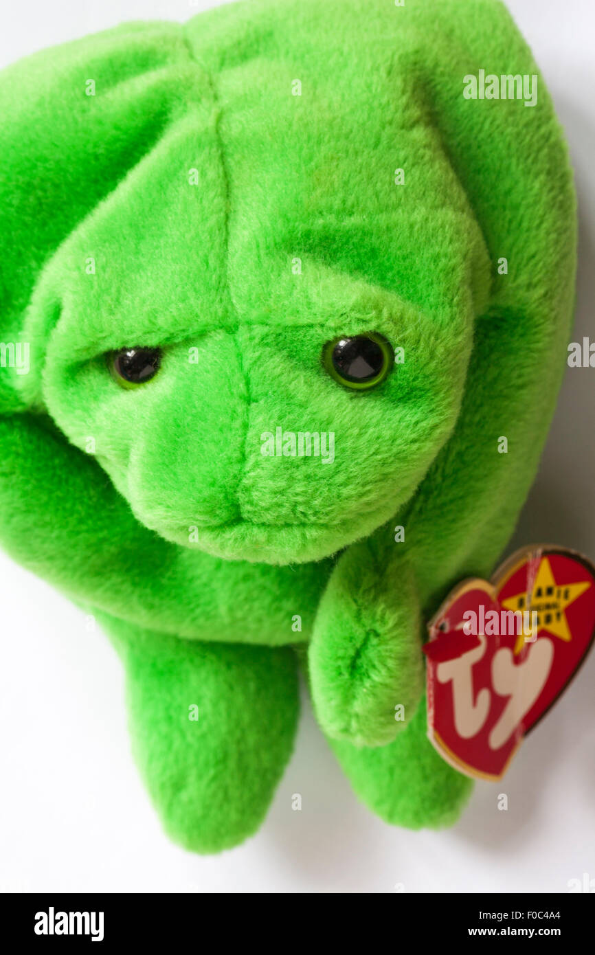 Legs the frog ty beanie original baby soft cuddly toy set on white background Stock Photo