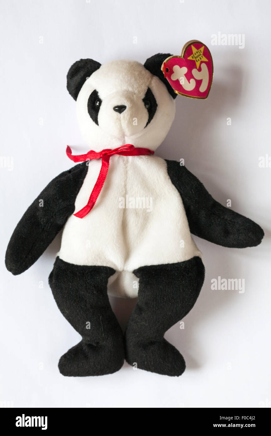 Fortune the Panda ty beanie original baby soft cuddly toy isolated on white background - Stock Image