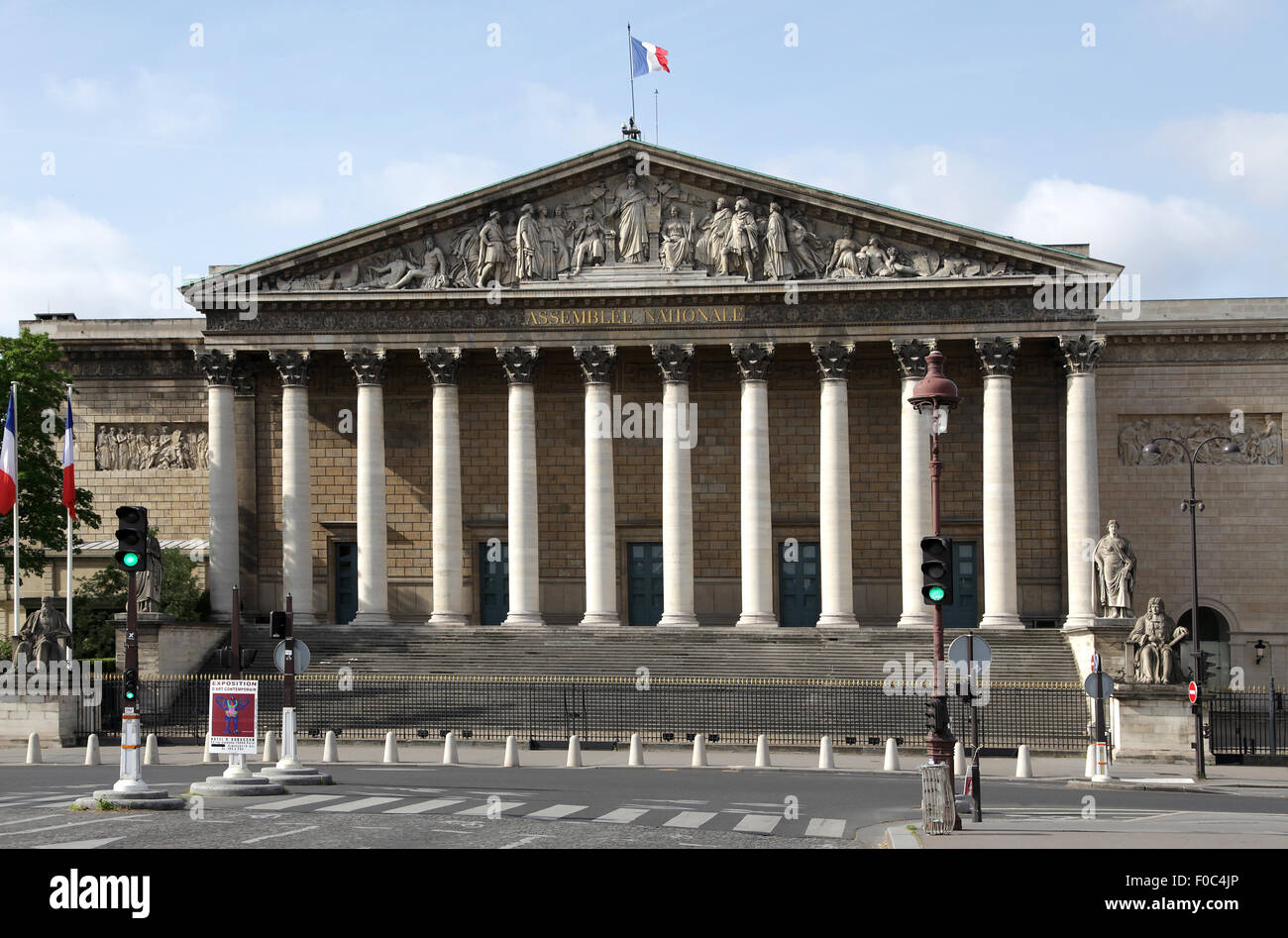 The Palais Bourbon Paris on the left bank of the Seine the seat of the French National Assembly.the lower legislative - Stock Image