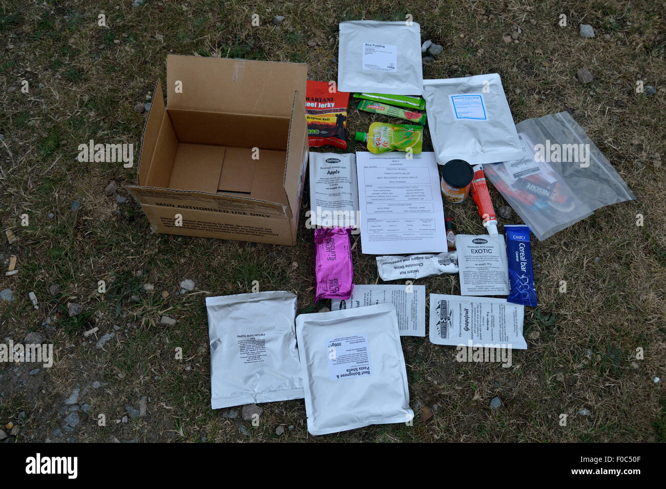 contents of british army 24 hour ration pack, including menu. - Stock Image