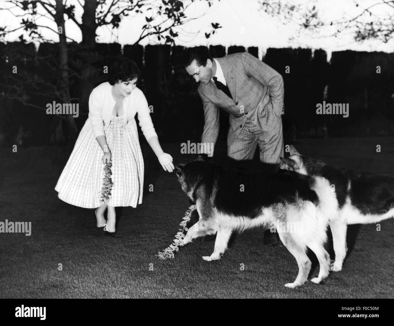 Gina Lollobrigida, with husband Milko Skofic, 1950s - Stock Image