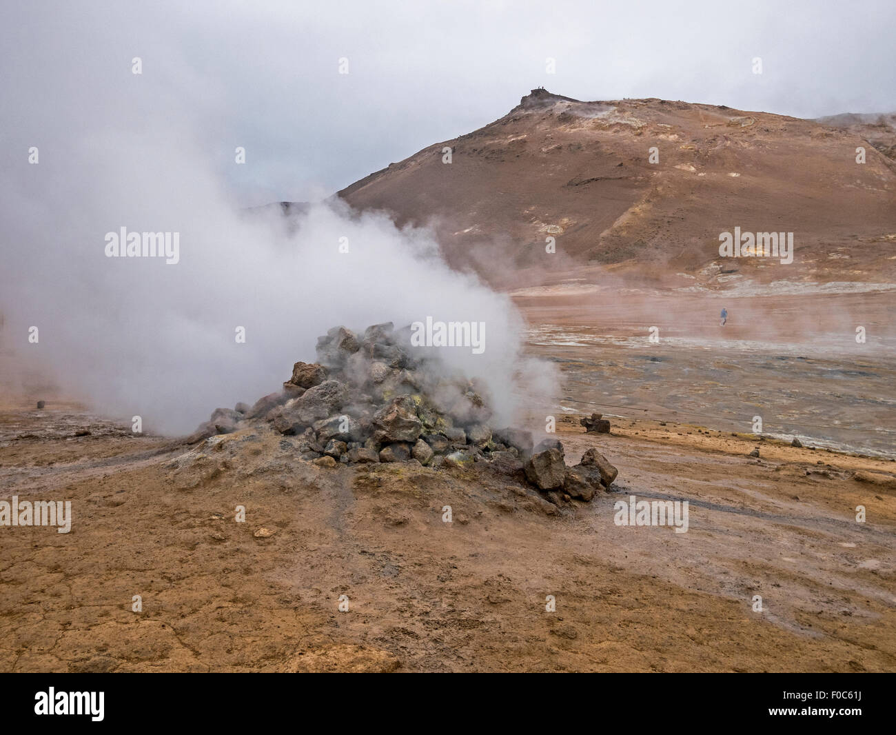 Namafjall high temperature geothermal area with fumaroles, mud pots and sulphur deposits Iceland. - Stock Image
