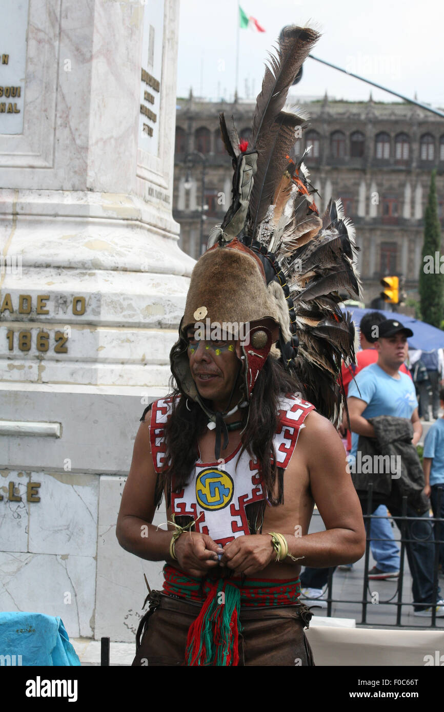 People executing Amerindian rituals in the square in front of Mexico City Cathedral and Metropolitan Tabernacle, - Stock Image