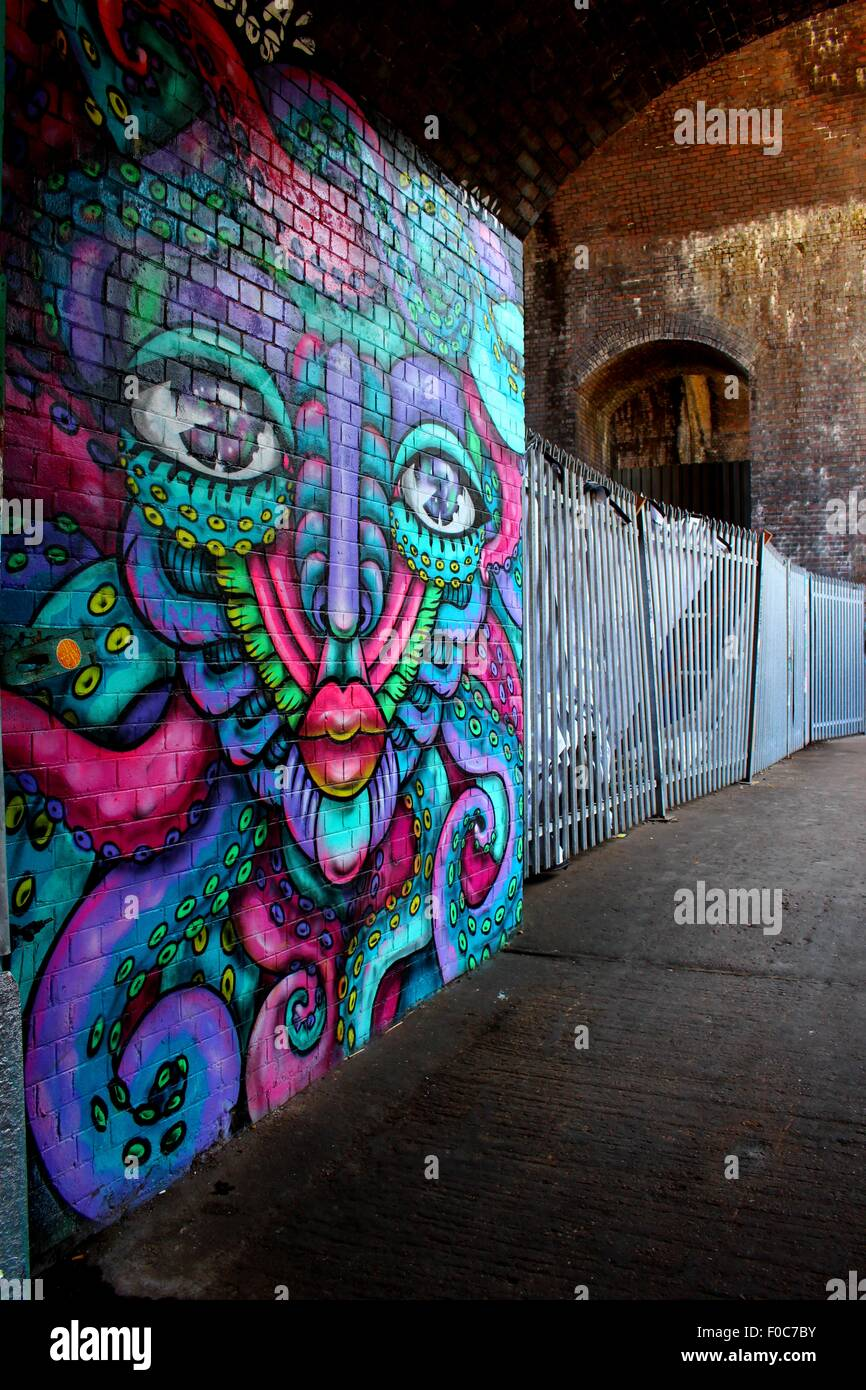 This picture was taken in digbeth birmingham this graffiti was created in conjunction with