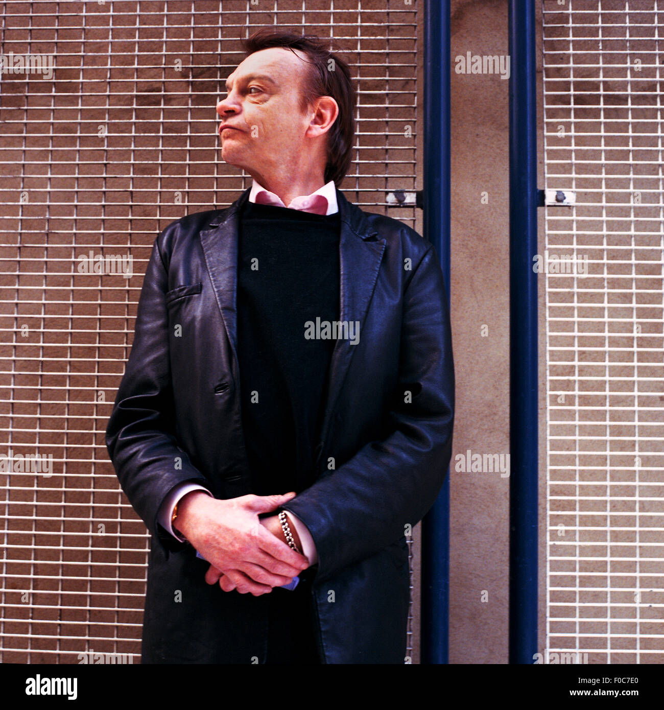 Mark E Smith lead singer of the Fall band photographed in London, England, United Kingdom. Stock Photo