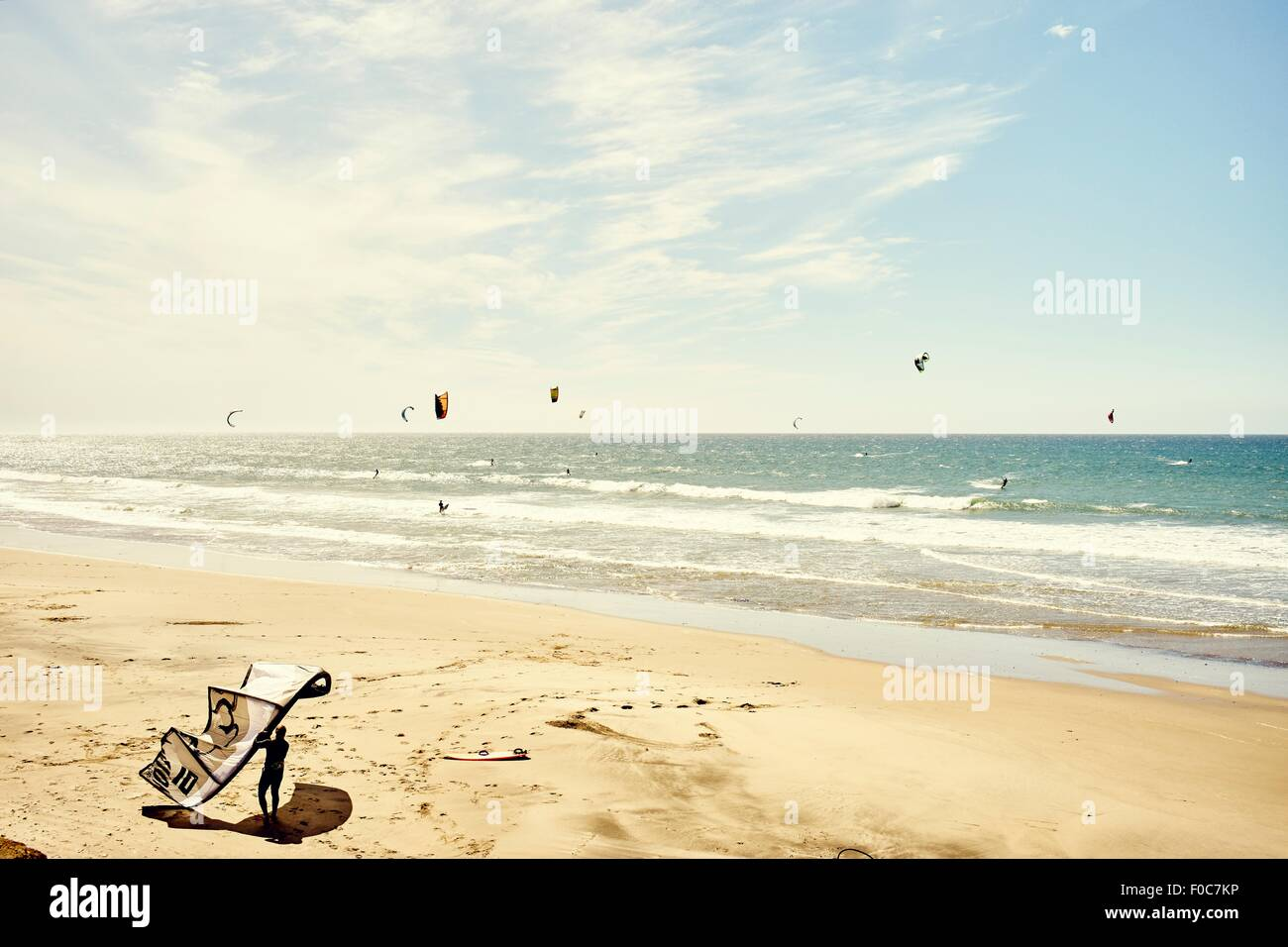 View of kitesurfers, Pacifica, California, USA - Stock Image
