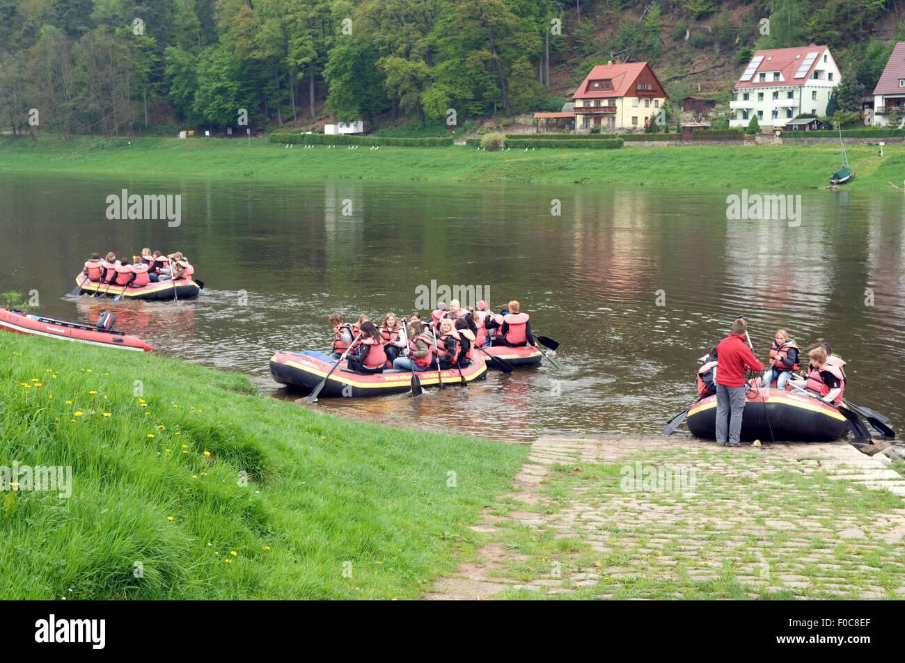 Ruderer, Kurort; Rathen; Sachsen; - Stock Image