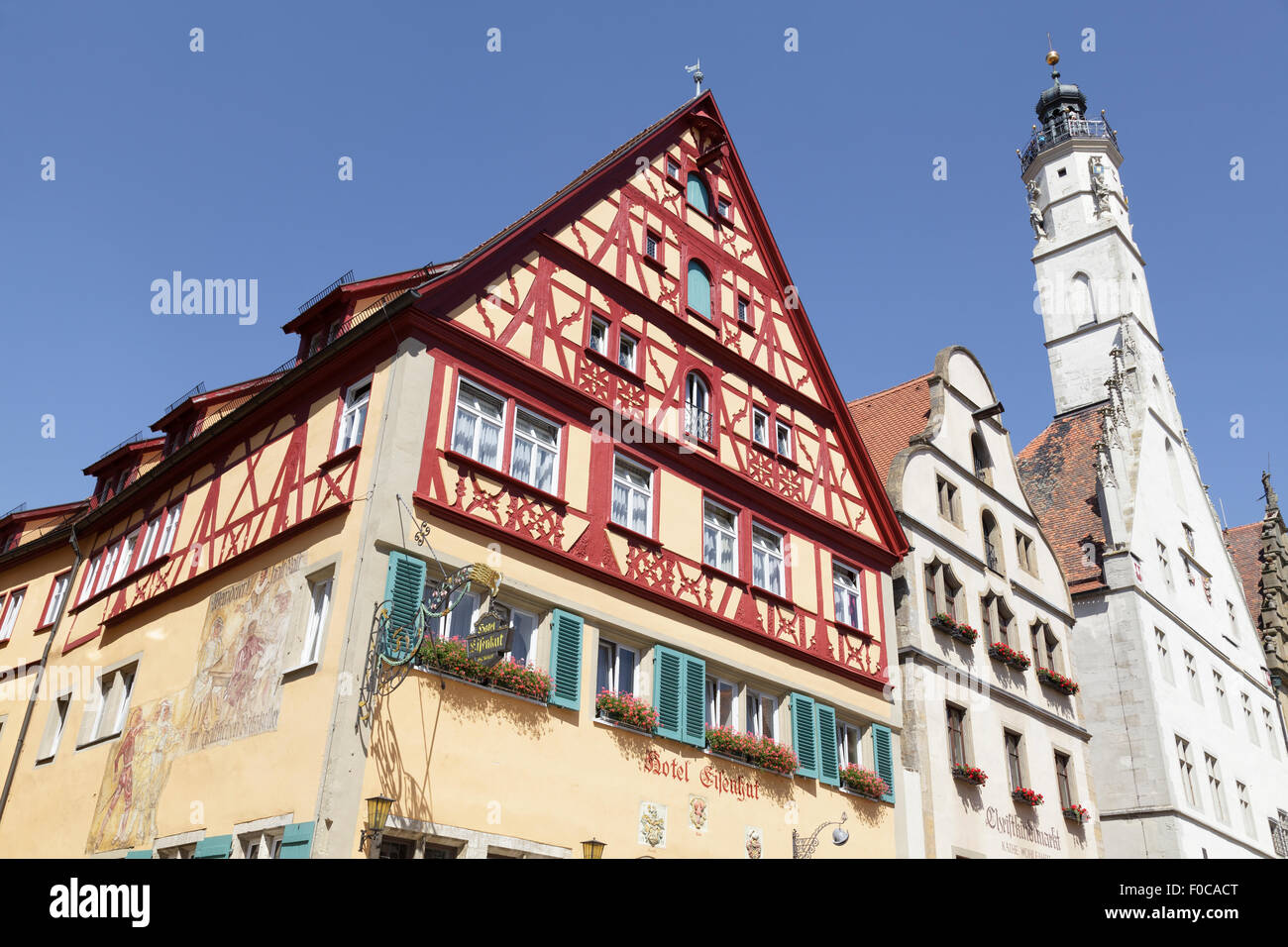 typical buildings on Hernngasse, Rothenburg ob der Tauber, Franconia, Bavaria, Germany - Stock Image