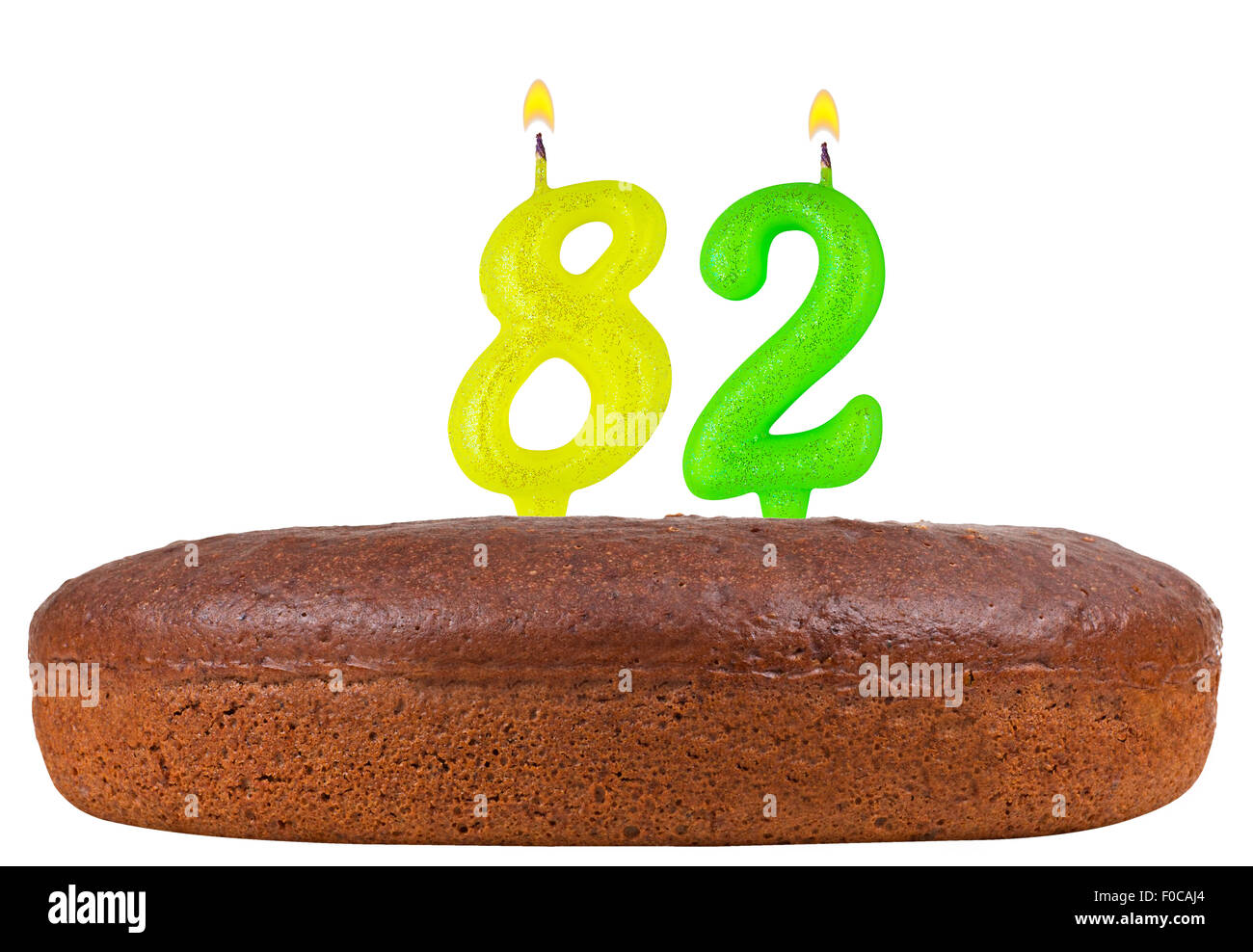 Birthday Cake With Candles Number 82 Isolated On White Background